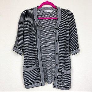 Zara Black White Knit Sweater Button Up Cardigan